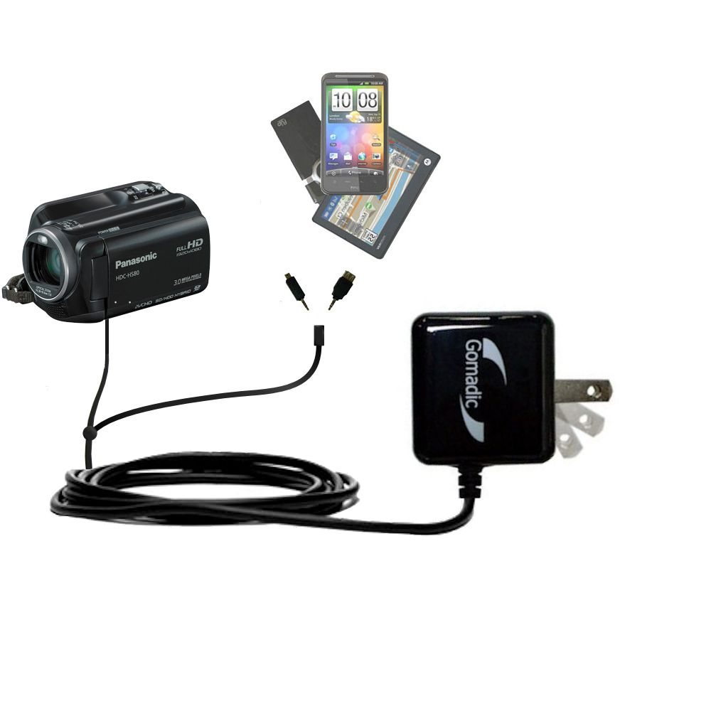 Double Wall Home Charger with tips including compatible with the Panasonic HDC-SD80 Camcorder