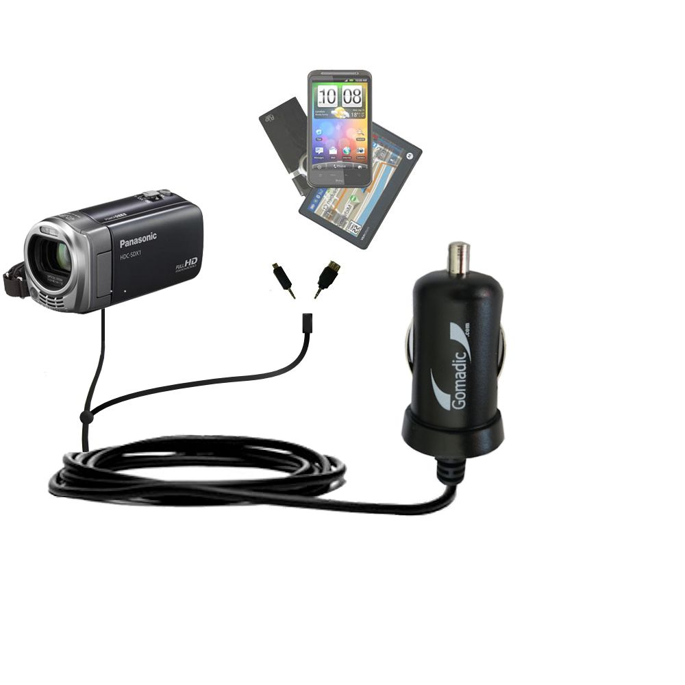 mini Double Car Charger with tips including compatible with the Panasonic HDC-SDX1H HD Camcorder