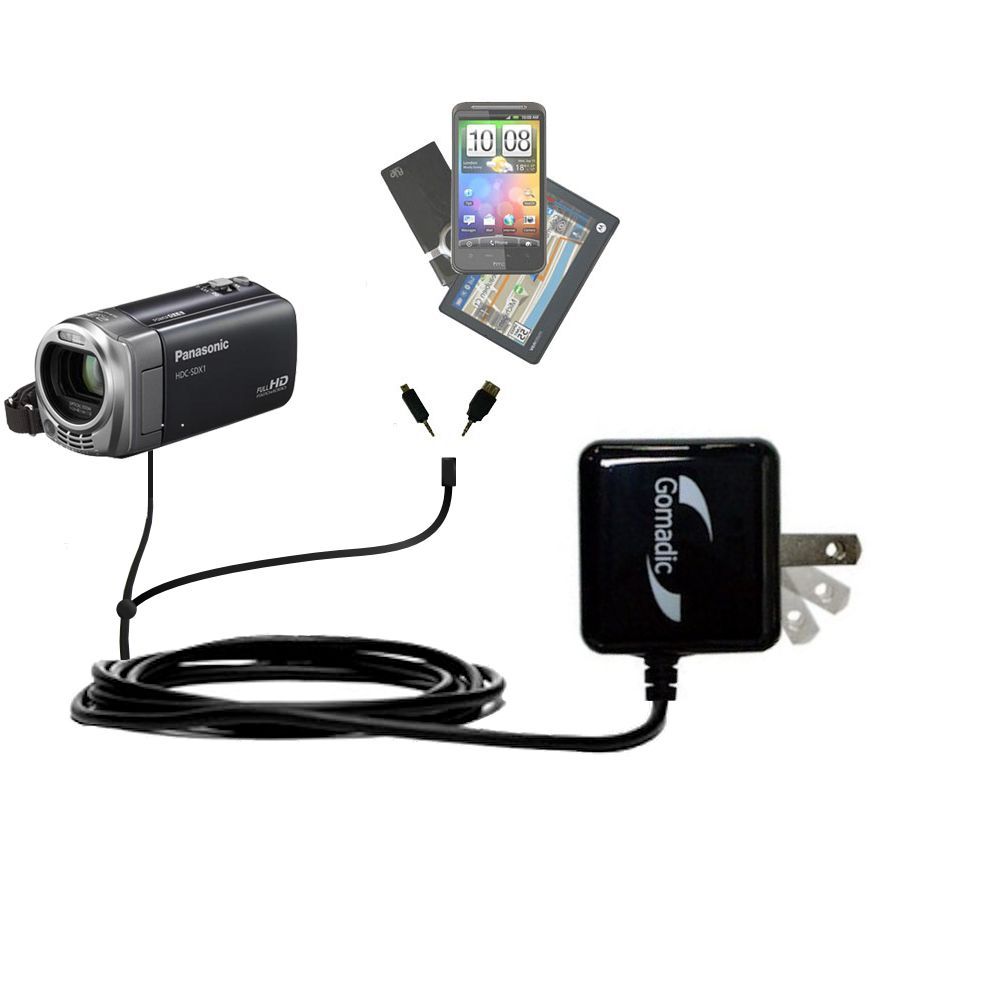 Double Wall Home Charger with tips including compatible with the Panasonic HDC-SDX1H HD Camcorder