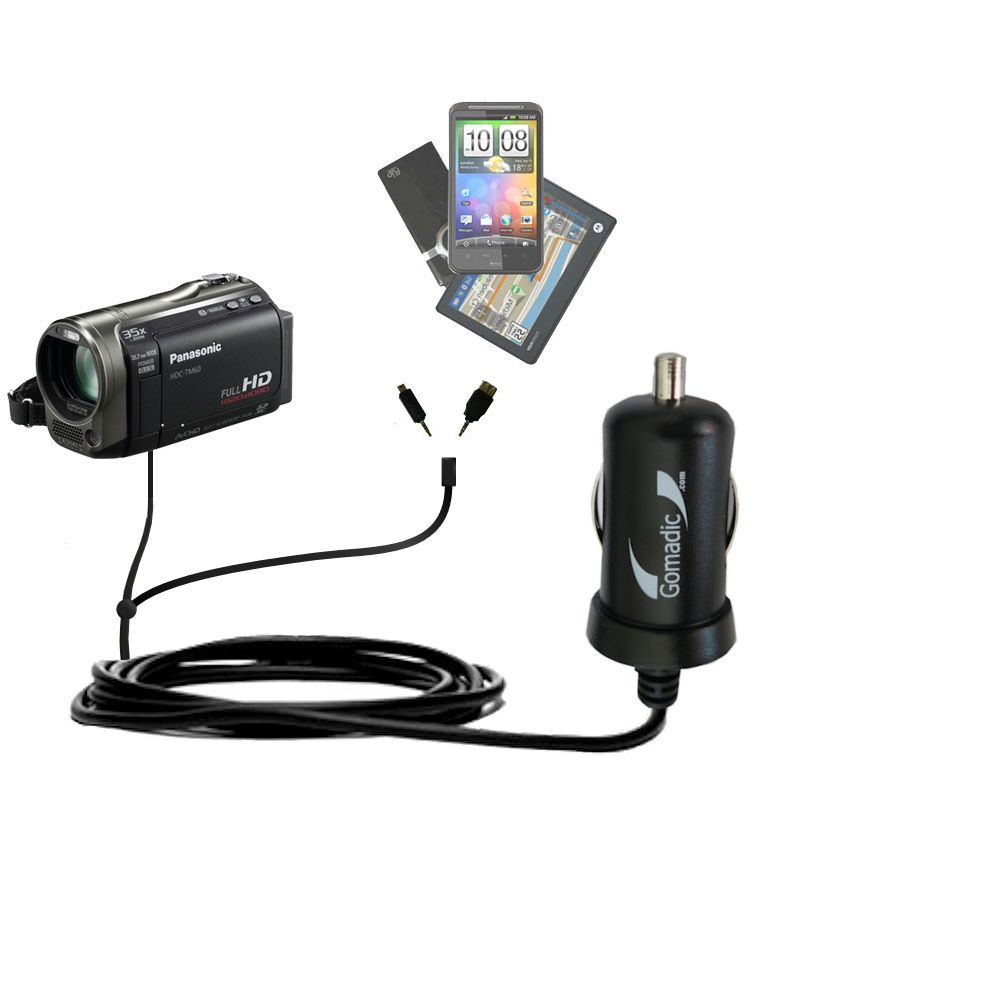 mini Double Car Charger with tips including compatible with the Panasonic HDC-TM55 Video Camera