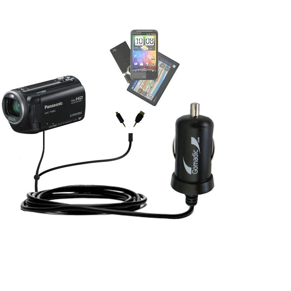 mini Double Car Charger with tips including compatible with the Panasonic HDC-TM80 Camcorder