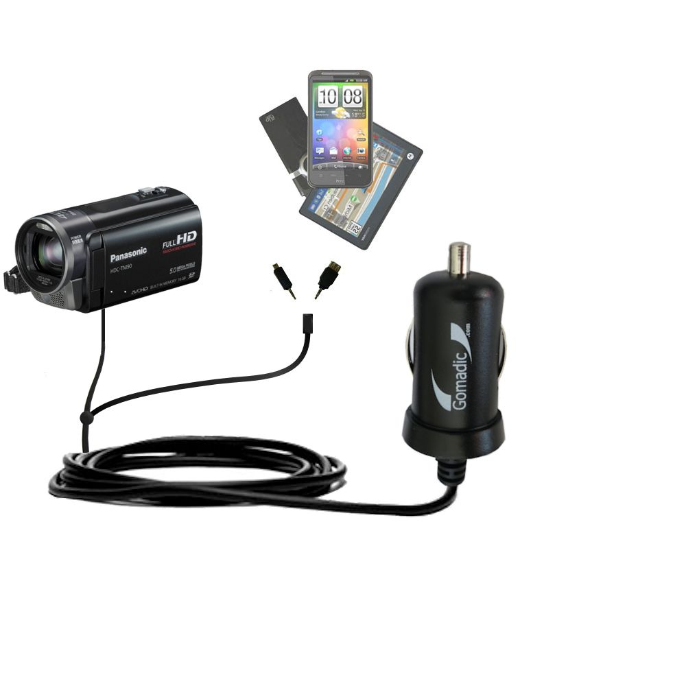 mini Double Car Charger with tips including compatible with the Panasonic HDC-TM90 Camcorder