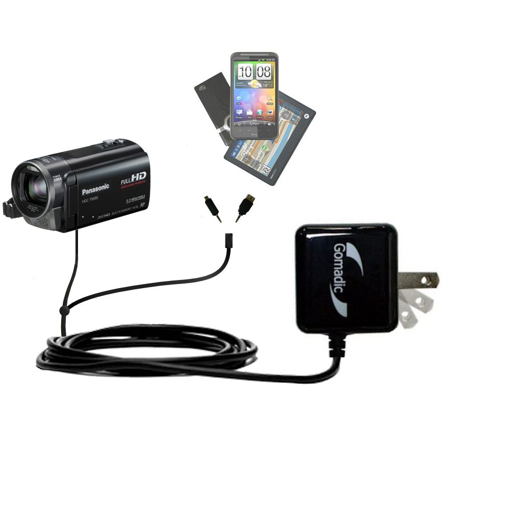 Double Wall Home Charger with tips including compatible with the Panasonic HDC-TM90 Camcorder
