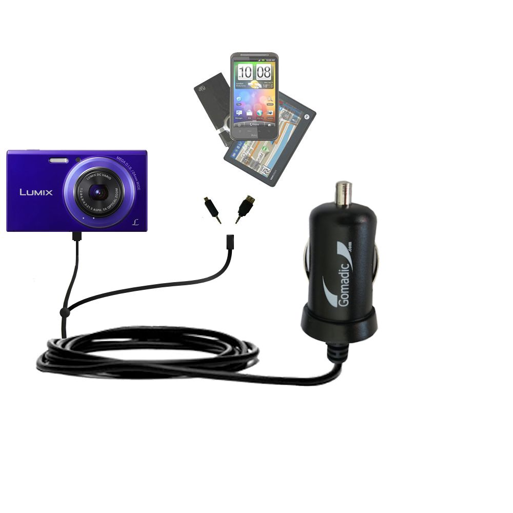 mini Double Car Charger with tips including compatible with the Panasonic Lumix DMC-FH10V