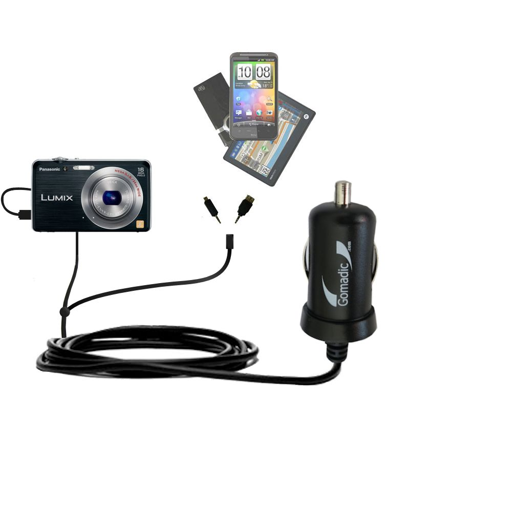 mini Double Car Charger with tips including compatible with the Panasonic Lumix DMC-FH8K