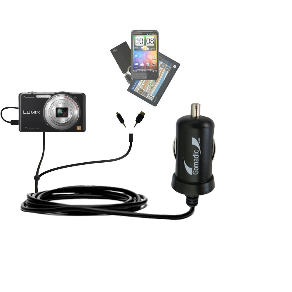 mini Double Car Charger with tips including compatible with the Panasonic Lumix DMC-SZ1K