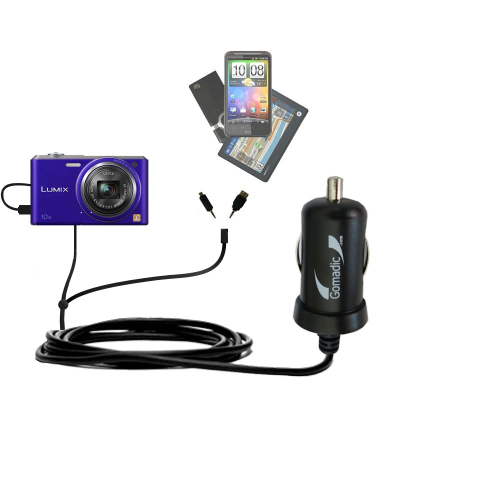 mini Double Car Charger with tips including compatible with the Panasonic Lumix DMC-SZ3V