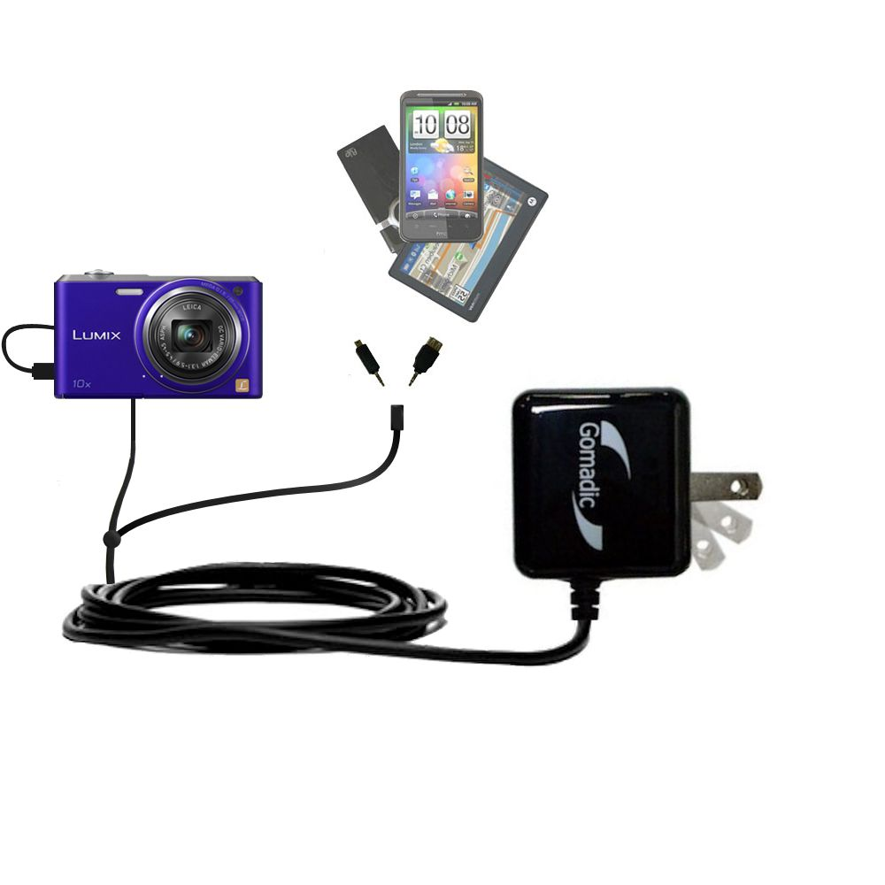 Double Wall Home Charger with tips including compatible with the Panasonic Lumix DMC-SZ3V
