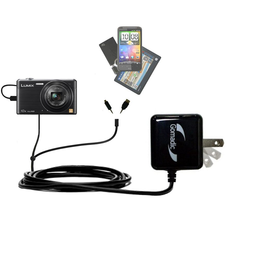 Double Wall Home Charger with tips including compatible with the Panasonic Lumix DMC-SZ9