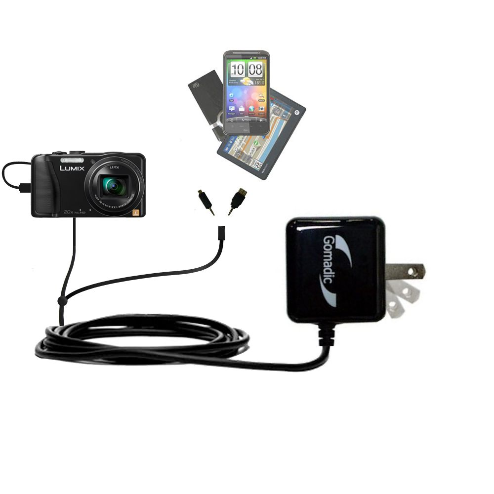 Double Wall Home Charger with tips including compatible with the Panasonic Lumix DMC-TZ30 / DMC-TZ35