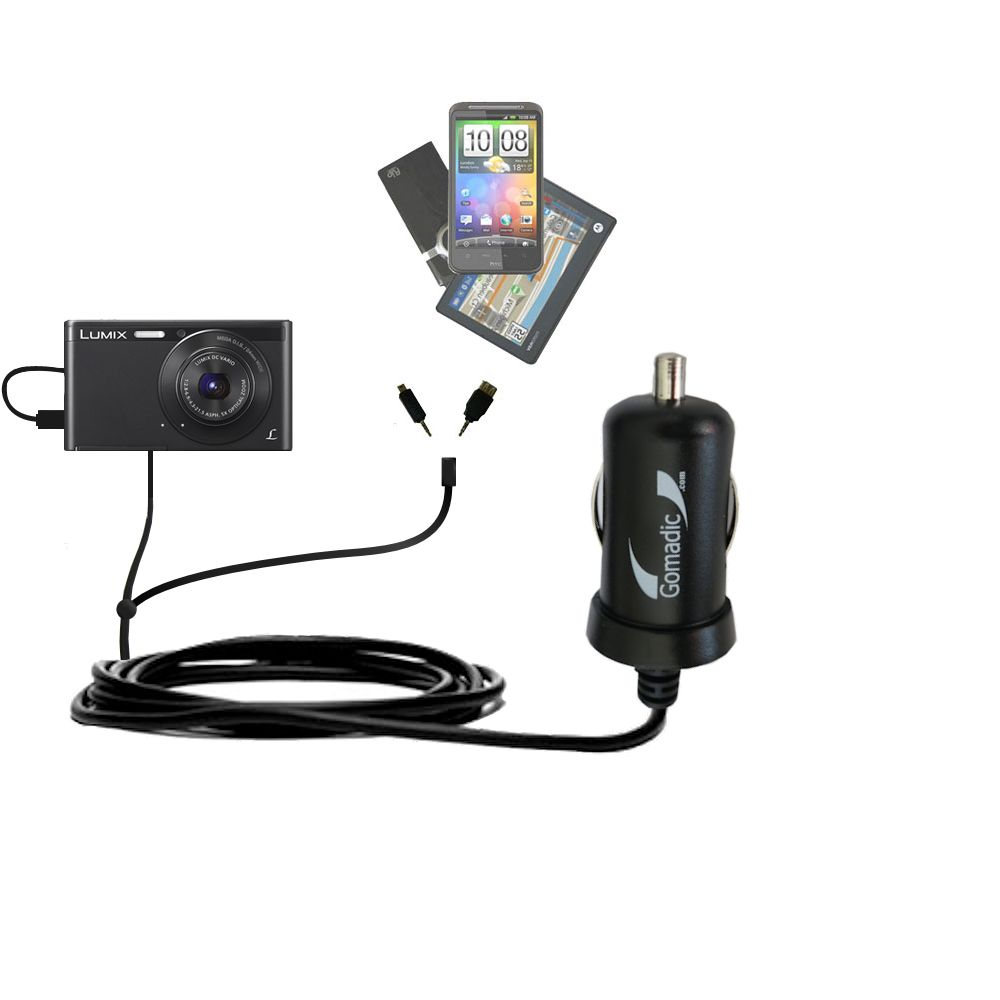 mini Double Car Charger with tips including compatible with the Panasonic Lumix DMC-XS1K