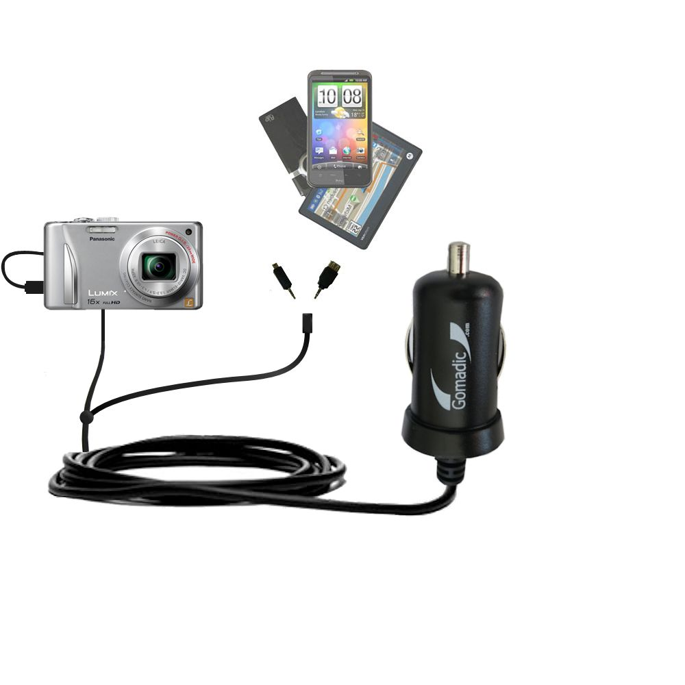 mini Double Car Charger with tips including compatible with the Panasonic Lumix DMC-ZS15S