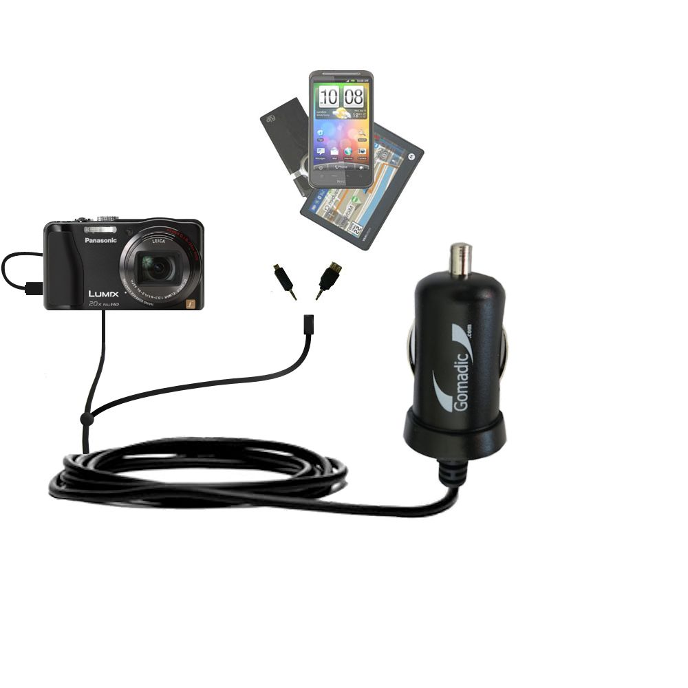 mini Double Car Charger with tips including compatible with the Panasonic Lumix DMC-ZS20W