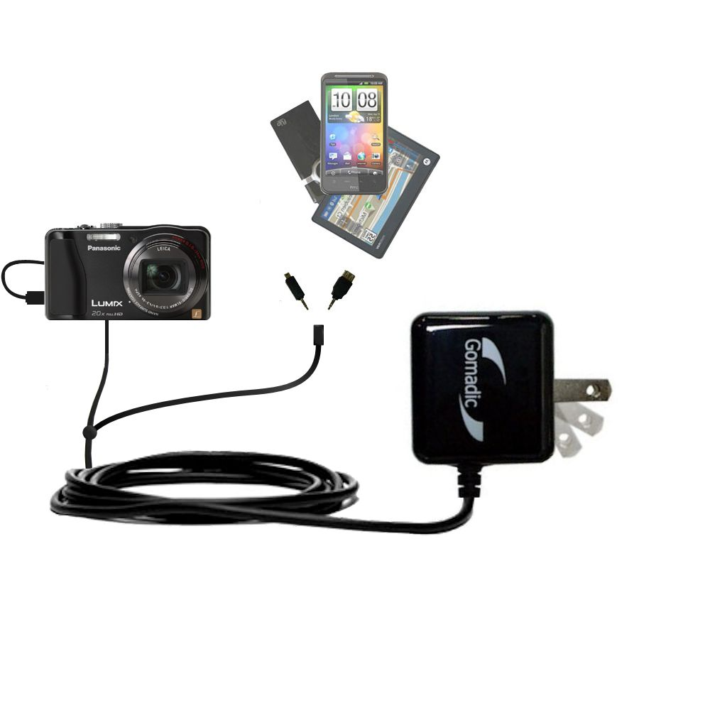 Double Wall Home Charger with tips including compatible with the Panasonic Lumix DMC-ZS20W