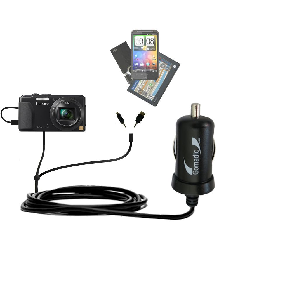mini Double Car Charger with tips including compatible with the Panasonic Lumix DMC-ZS30K