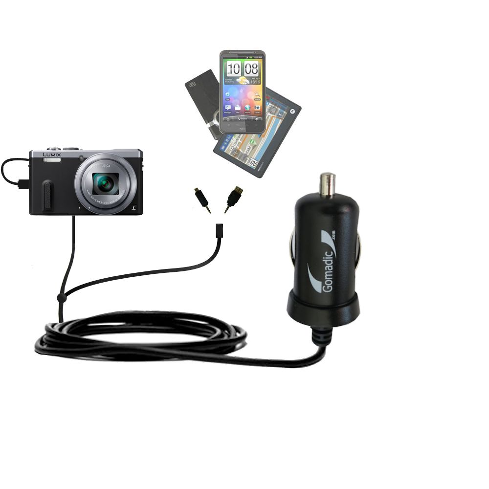mini Double Car Charger with tips including compatible with the Panasonic Lumix DMC-ZS40