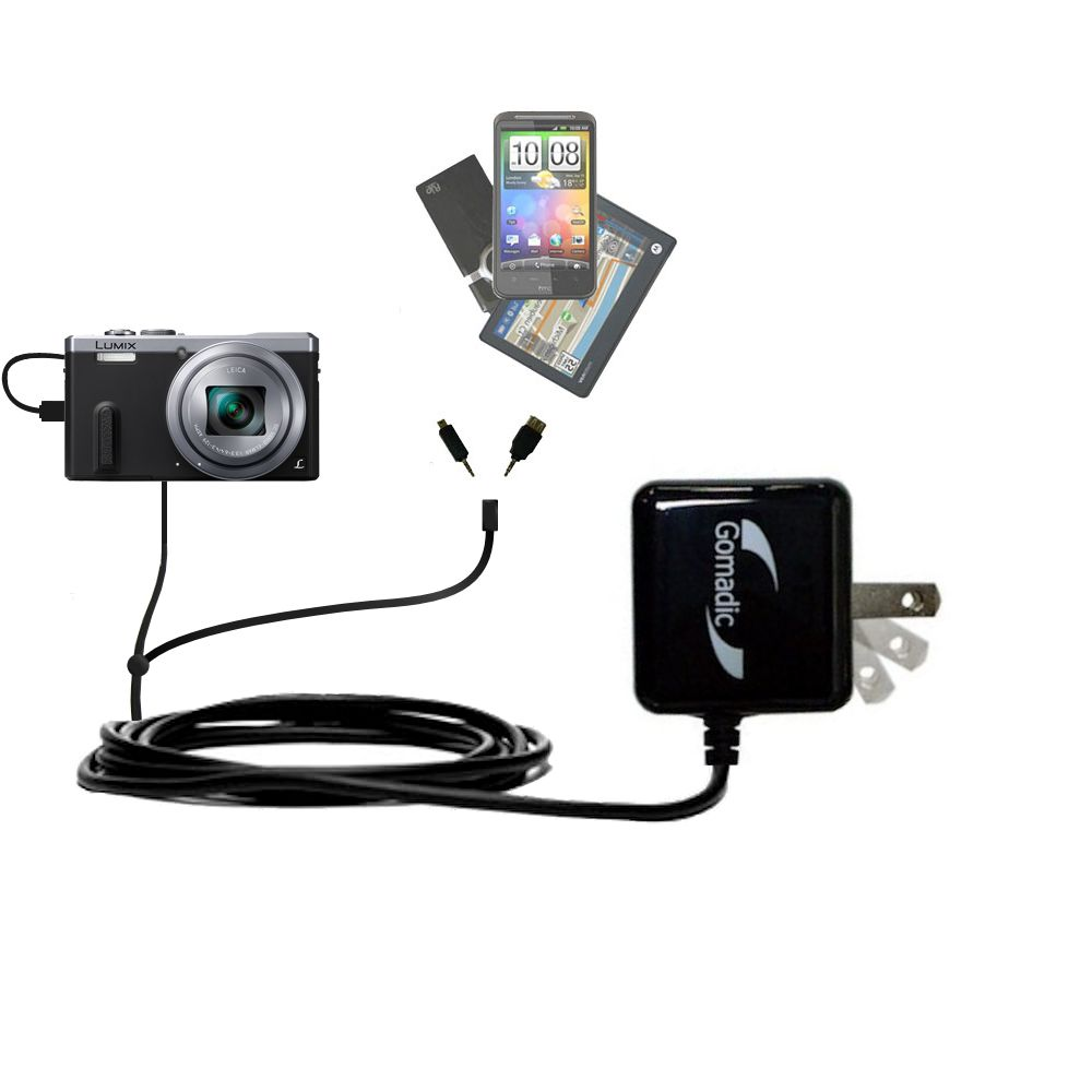 Double Wall Home Charger with tips including compatible with the Panasonic Lumix DMC-ZS40