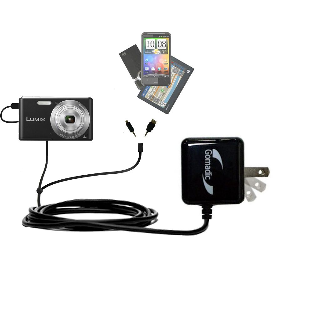 Double Wall Home Charger with tips including compatible with the Panasonic Lumix F5 / DMC-F5