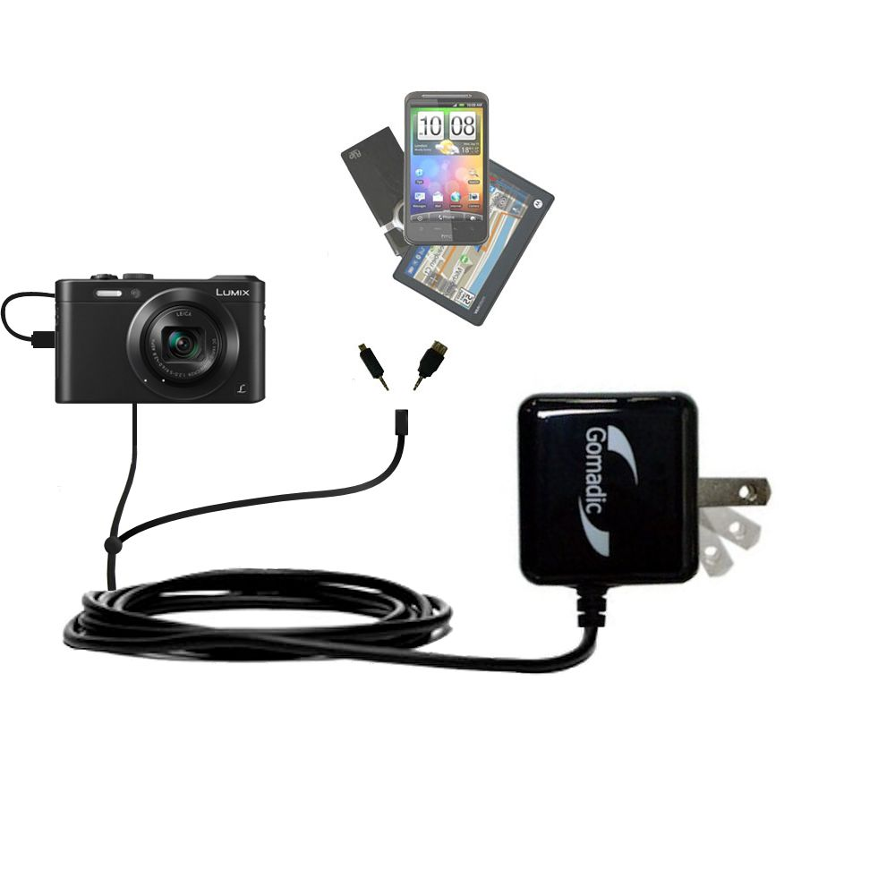 Double Wall Home Charger with tips including compatible with the Panasonic Lumix LF1 / DMC-LF1