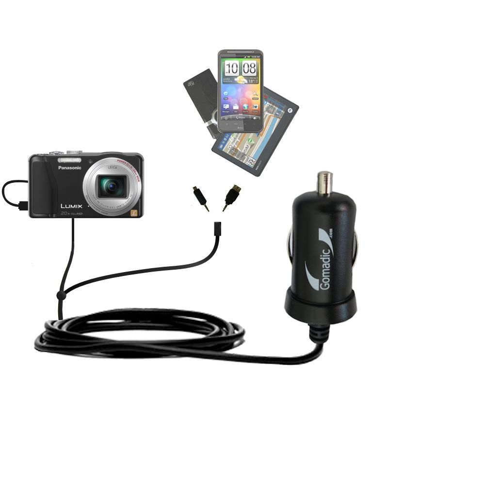 mini Double Car Charger with tips including compatible with the Panasonic Lumix ZS19 / ZS20
