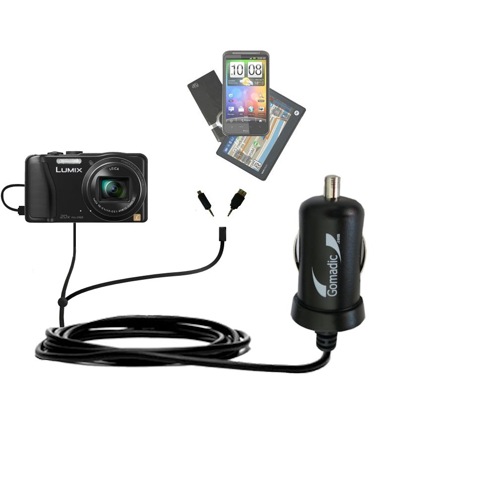 mini Double Car Charger with tips including compatible with the Panasonic Lumix ZS25 / ZS30