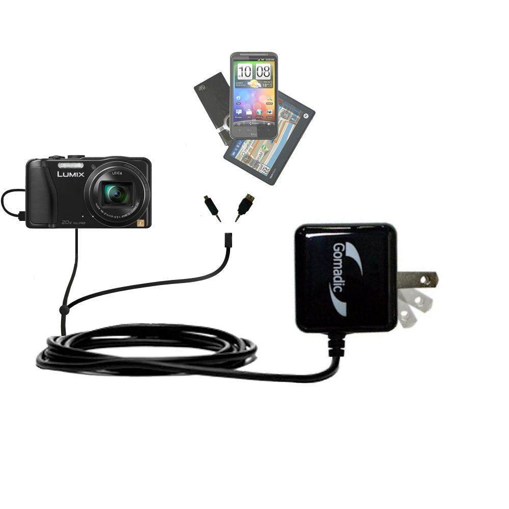 Double Wall Home Charger with tips including compatible with the Panasonic Lumix ZS25 / ZS30