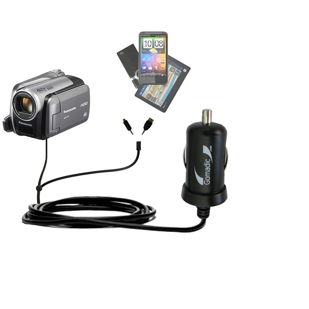 mini Double Car Charger with tips including compatible with the Panasonic SDR-570 Camcorder