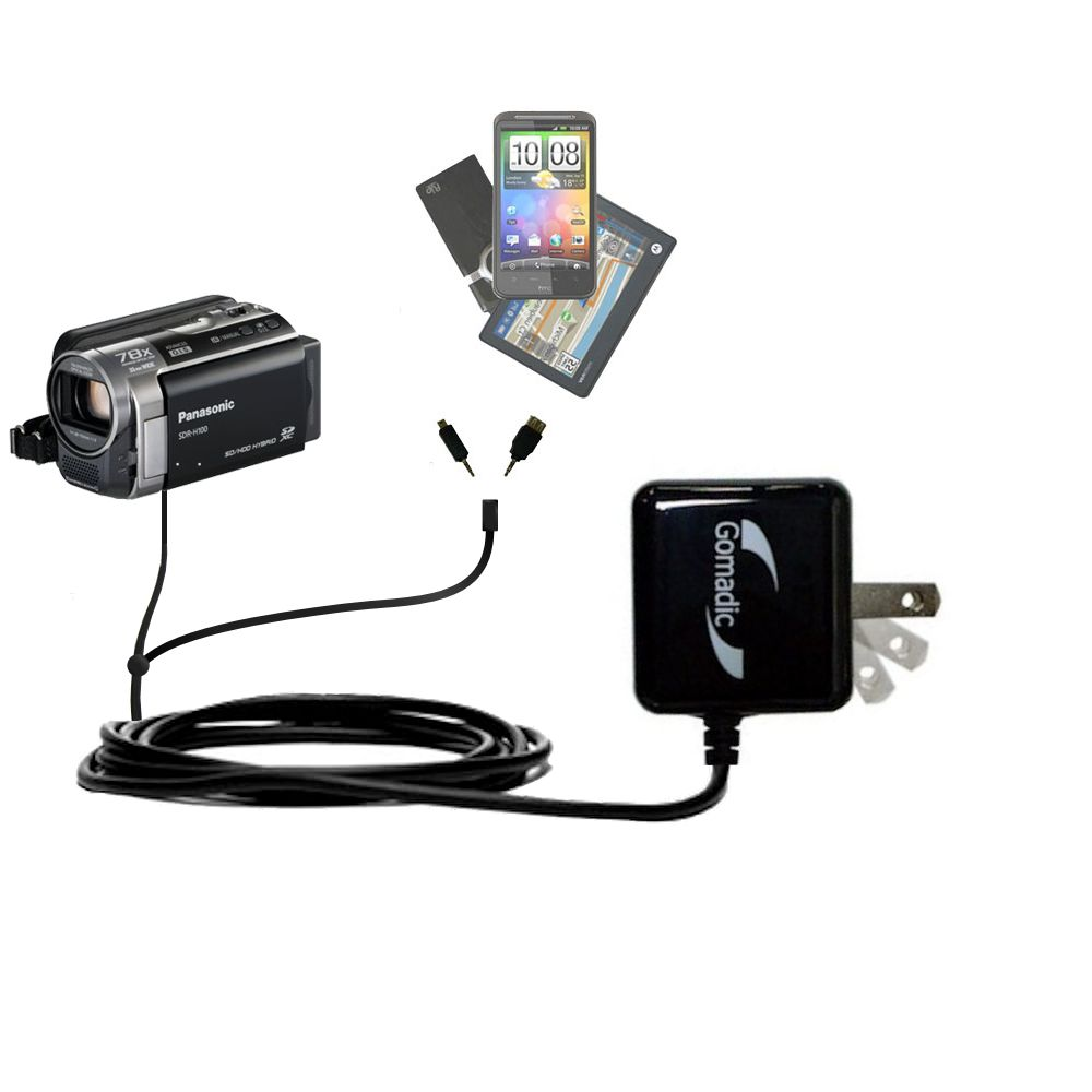 Double Wall Home Charger with tips including compatible with the Panasonic SDR-H100 Camcorder