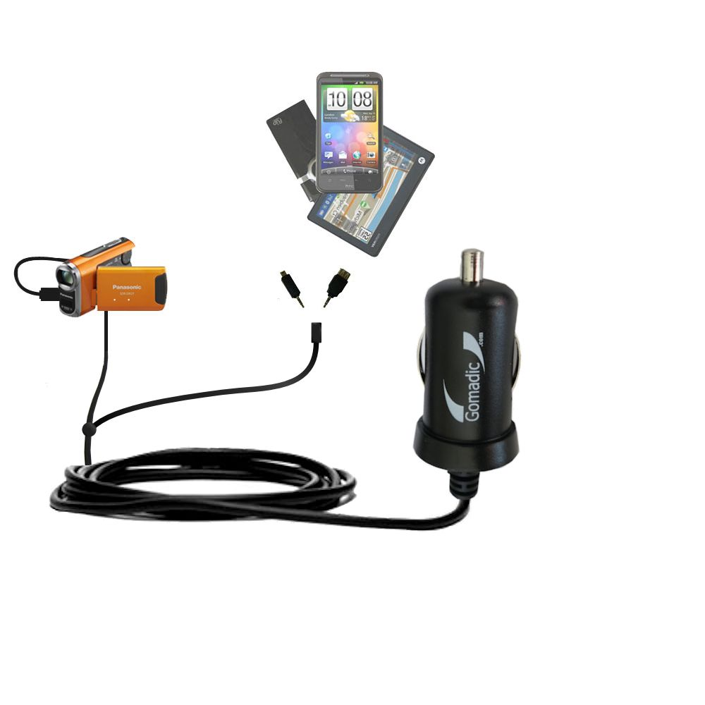 mini Double Car Charger with tips including compatible with the Panasonic SDR-SW21 Video Camera