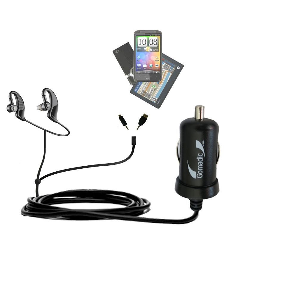 mini Double Car Charger with tips including compatible with the Plantronics 903