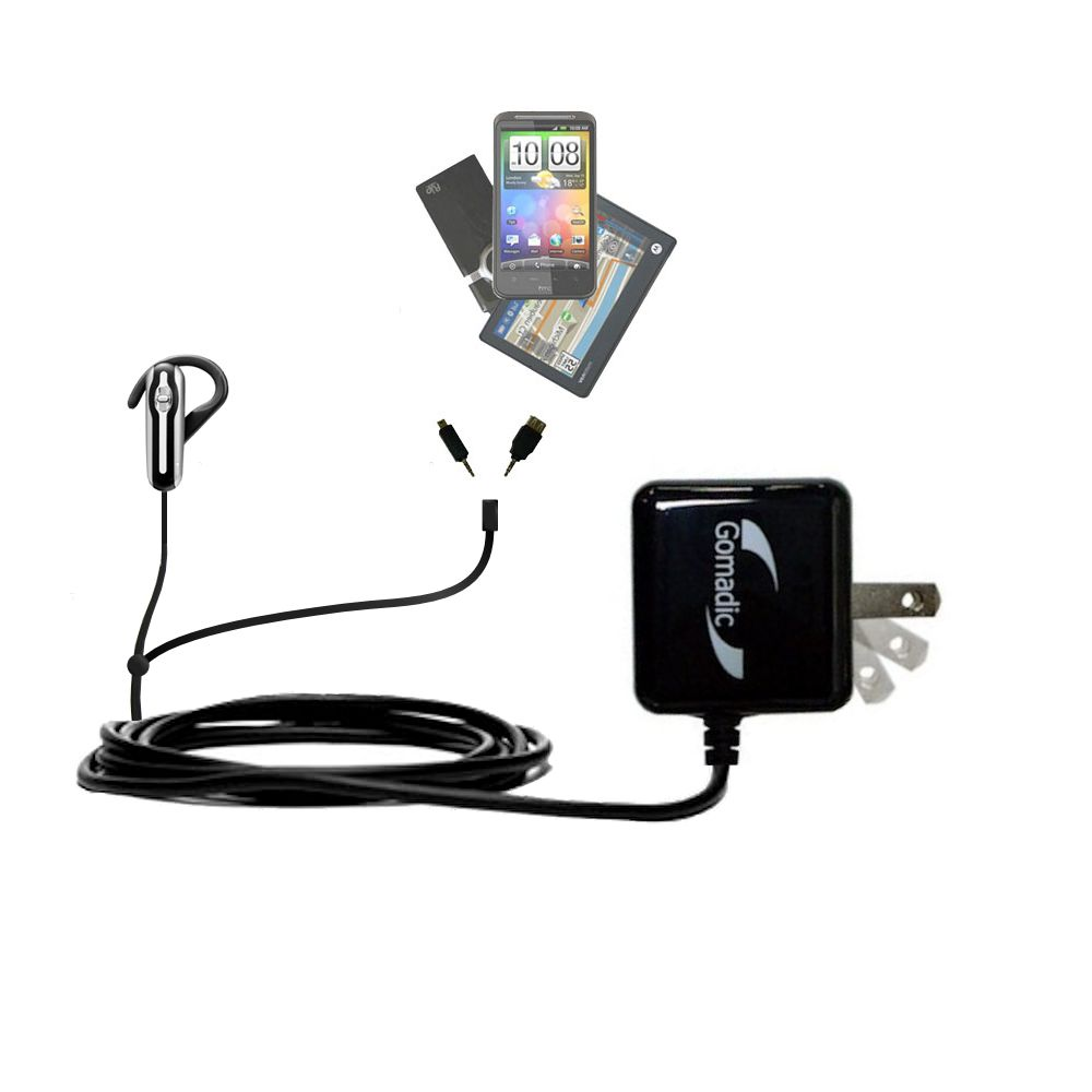 Double Wall Home Charger with tips including compatible with the Plantronics Explorer 320