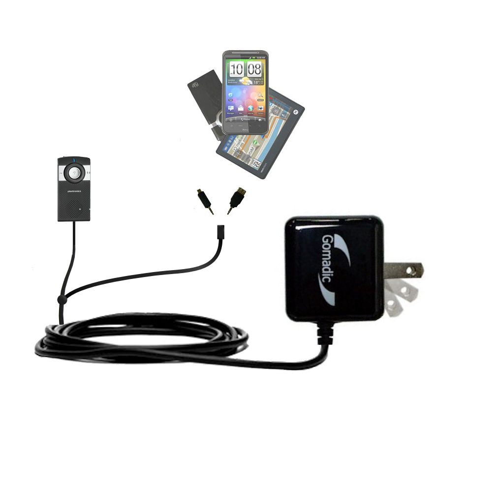 Double Wall Home Charger with tips including compatible with the Plantronics K100 In-Car Speakerphone