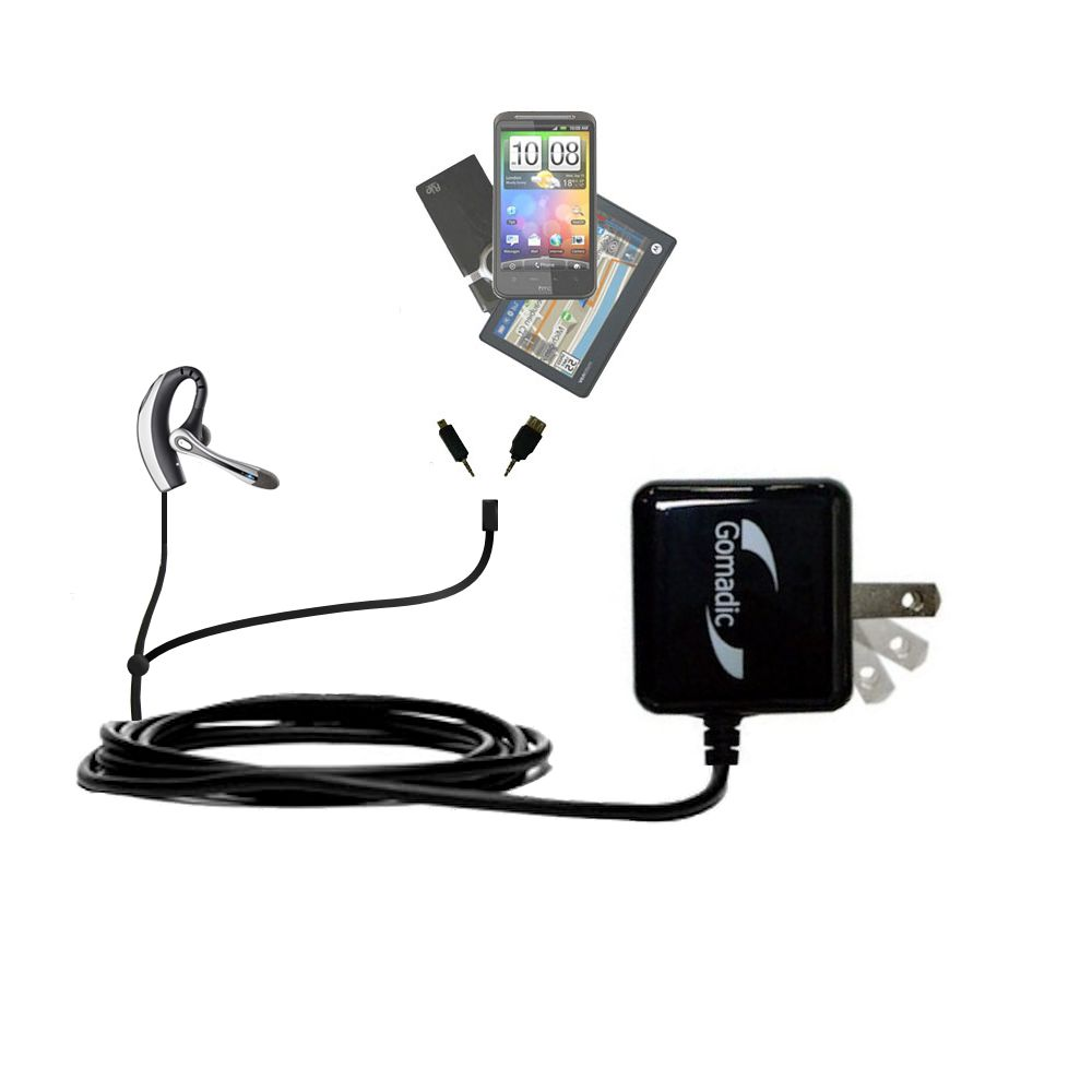 Double Wall Home Charger with tips including compatible with the Plantronics Voyager 510