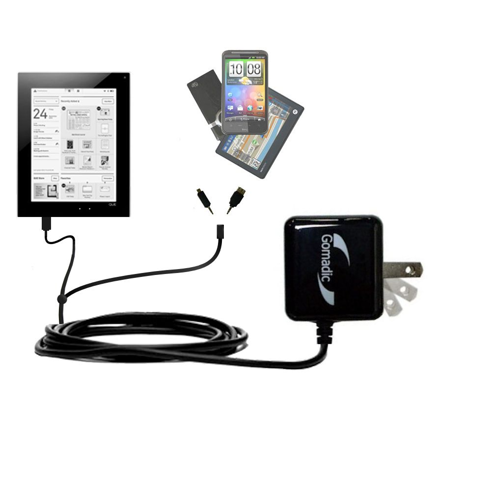 Double Wall Home Charger with tips including compatible with the Plastic Logic Que ProReader