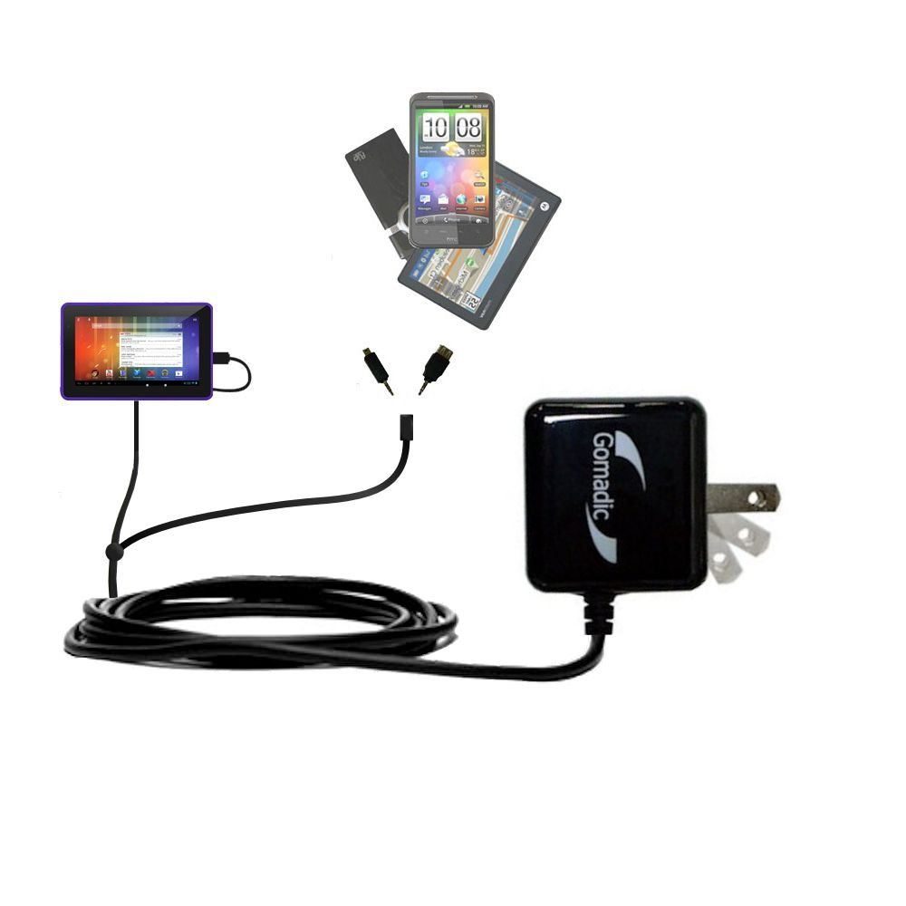 Double Wall Home Charger with tips including compatible with the Playtime Tabby 7DU - 7 Inch