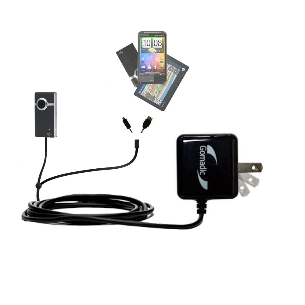 Double Wall Home Charger with tips including compatible with the Pure Digital Flip Video UltraHD