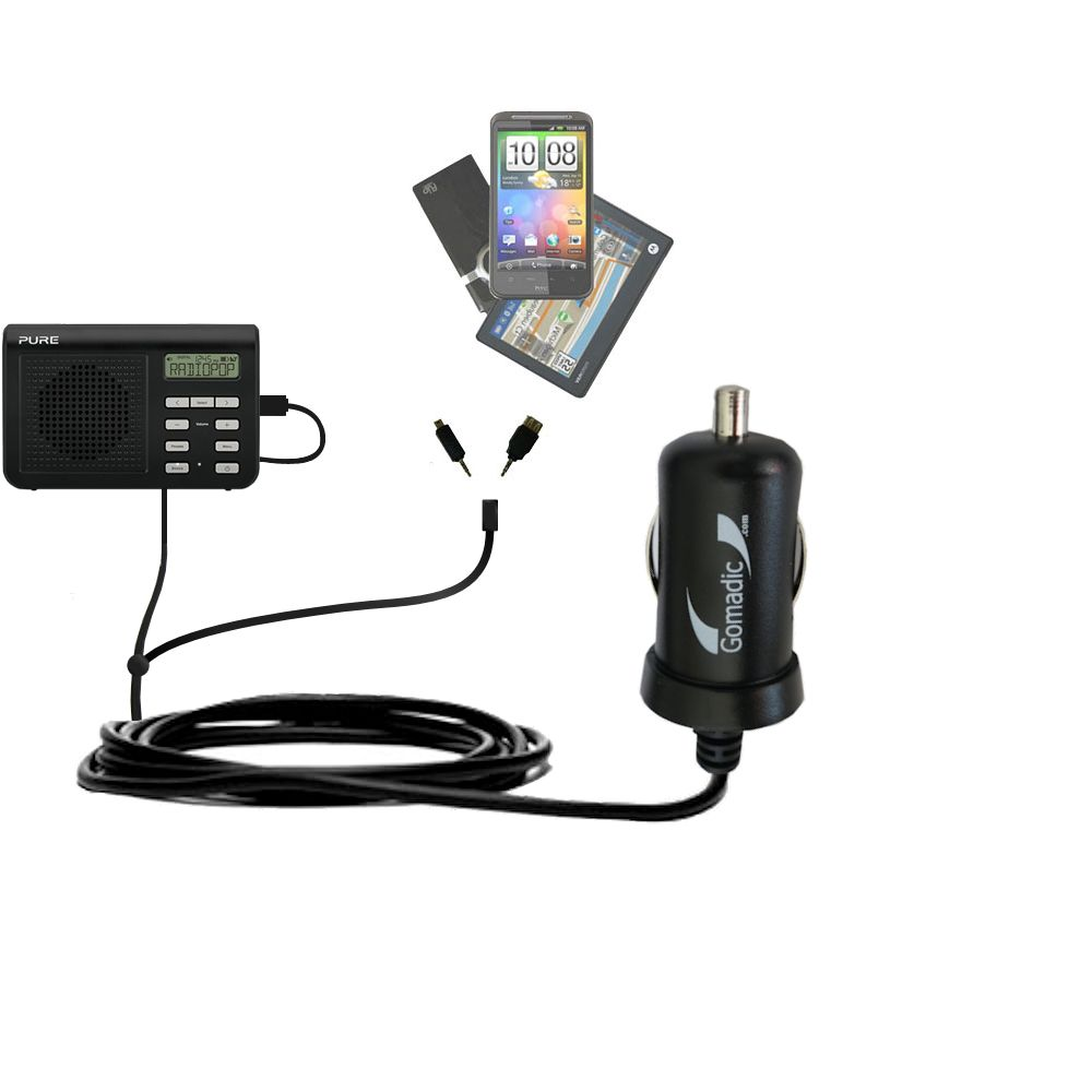 mini Double Car Charger with tips including compatible with the PURE One Mi Series 2