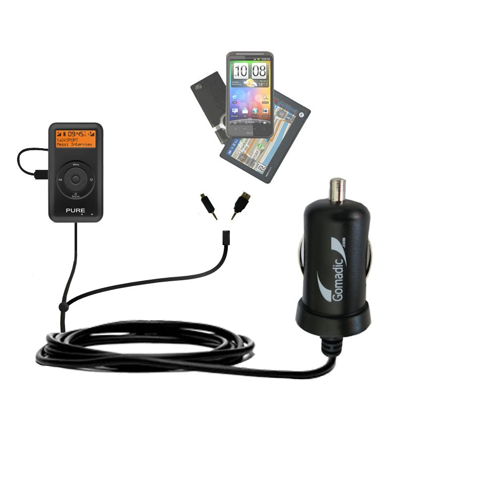 mini Double Car Charger with tips including compatible with the PURE PocketDAB 1500