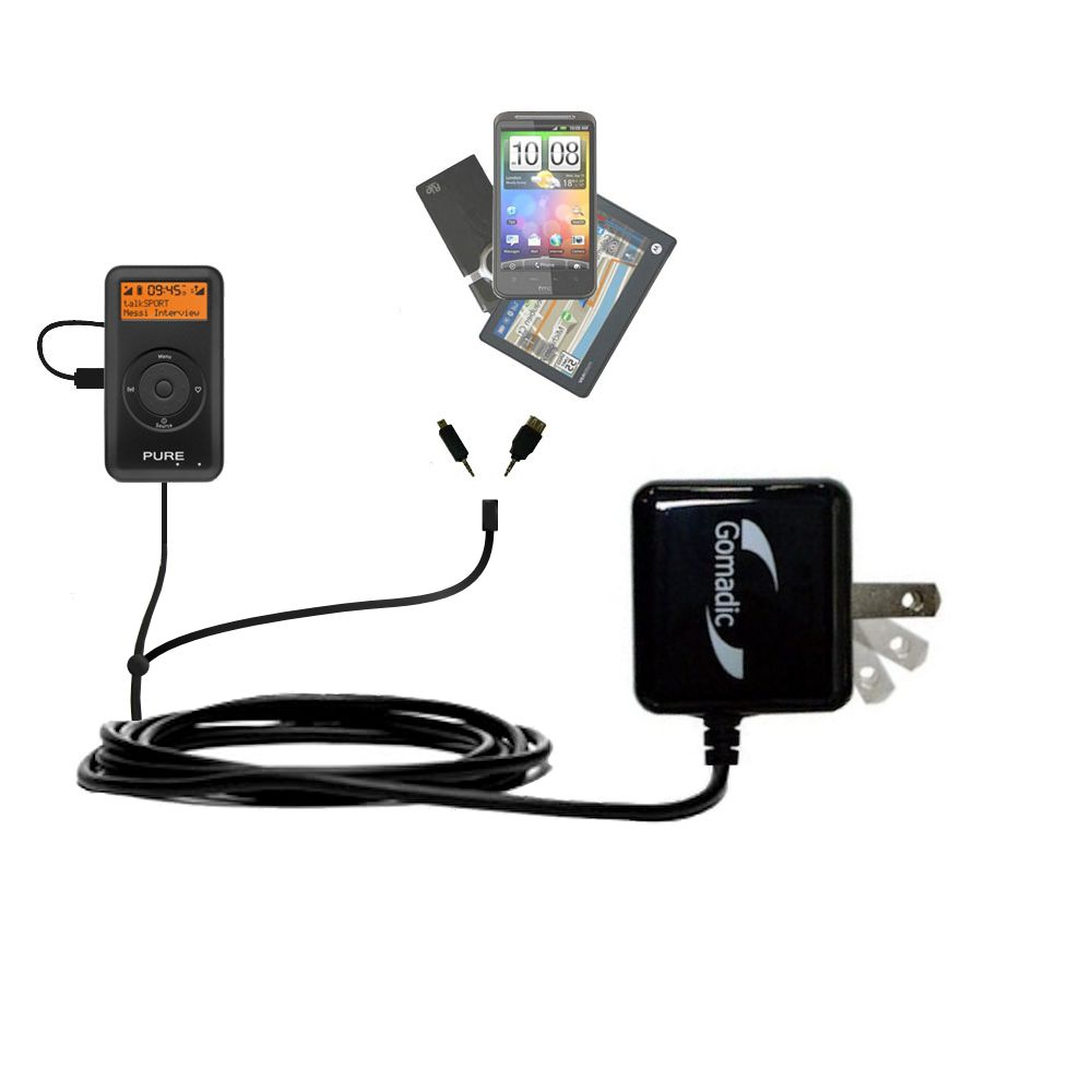 Double Wall Home Charger with tips including compatible with the PURE PocketDAB 1500