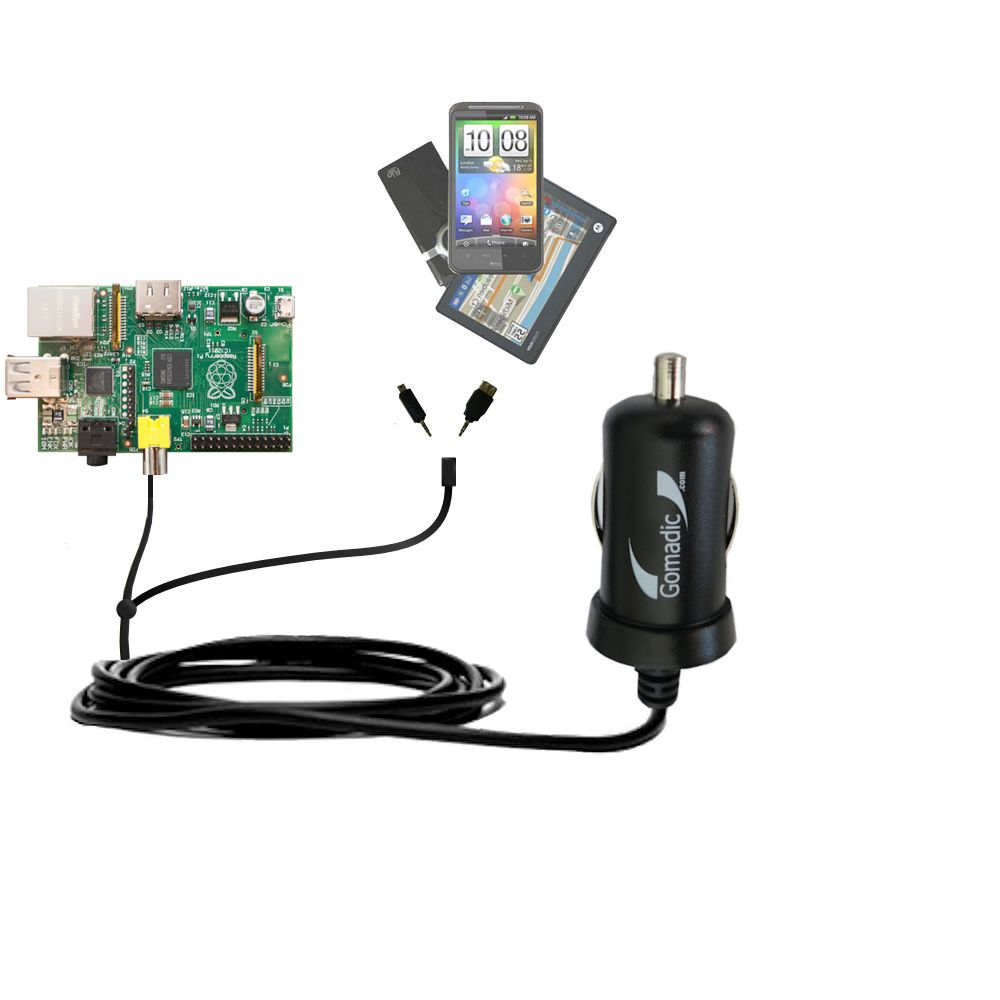 Double Port Micro Gomadic Car / Auto DC Charger suitable for the Raspberry Pi Board - Charges up to 2 devices simultaneously with Gomadic TipExchange Technology