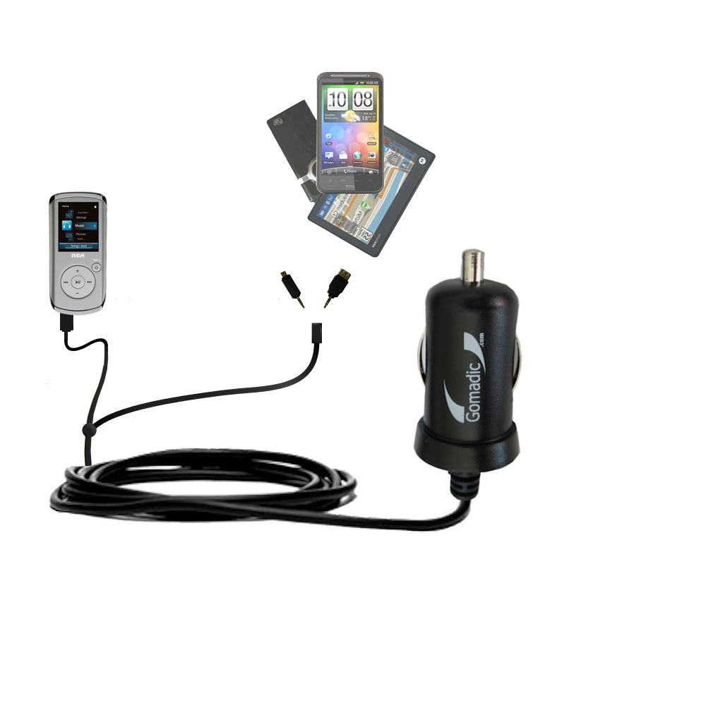 mini Double Car Charger with tips including compatible with the RCA M4102 Opal Digital Media Player
