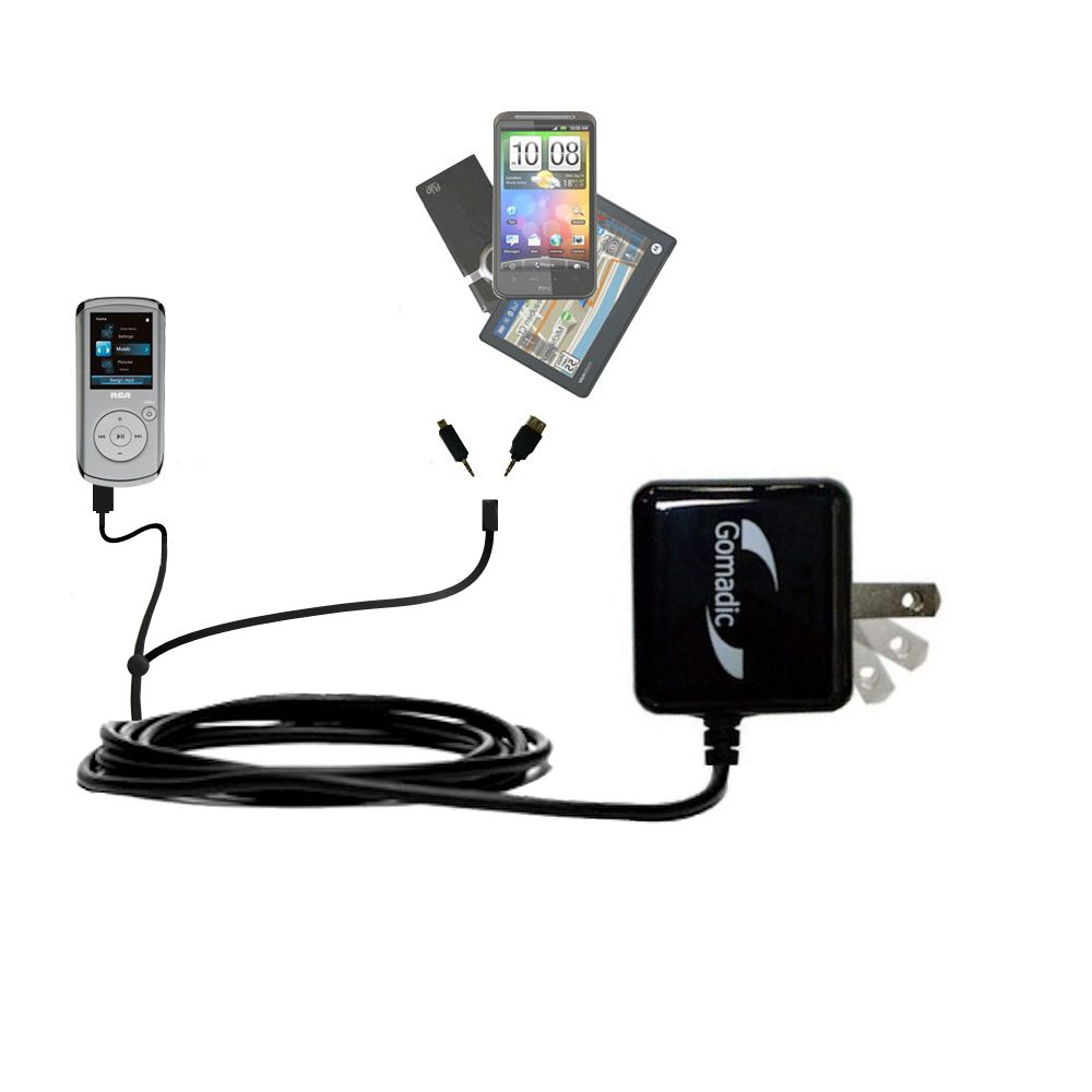 Double Wall Home Charger with tips including compatible with the RCA M4108 Digital Music Player