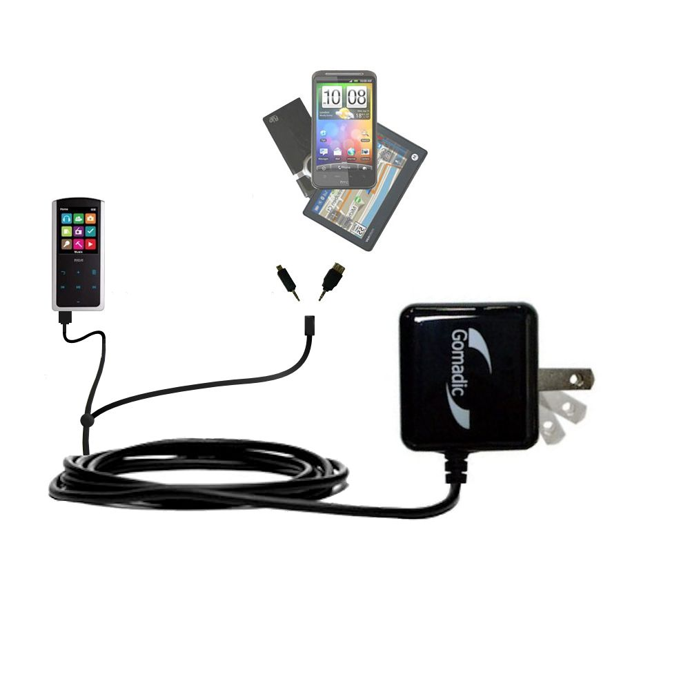 Double Wall Home Charger with tips including compatible with the RCA M4608 Lyra Digital Media Player