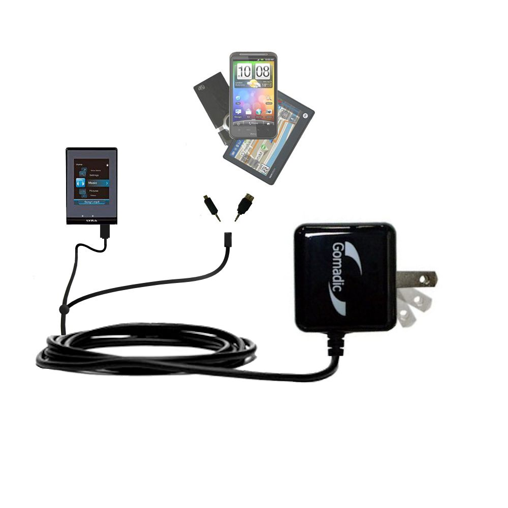 Double Wall Home Charger with tips including compatible with the RCA SLC5008 LYRA Slider Media Player