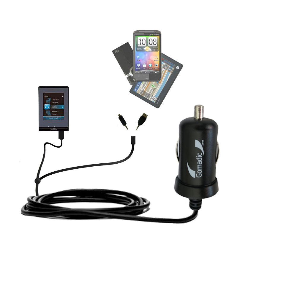 mini Double Car Charger with tips including compatible with the RCA SLC5016 LYRA Slider Media Player