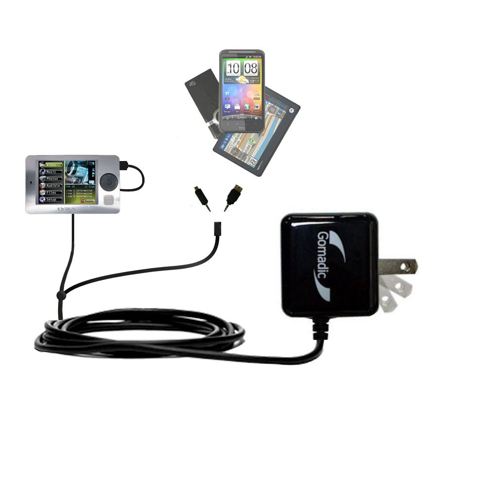 Double Wall Home Charger with tips including compatible with the RCA X3000 LYRA Media Player