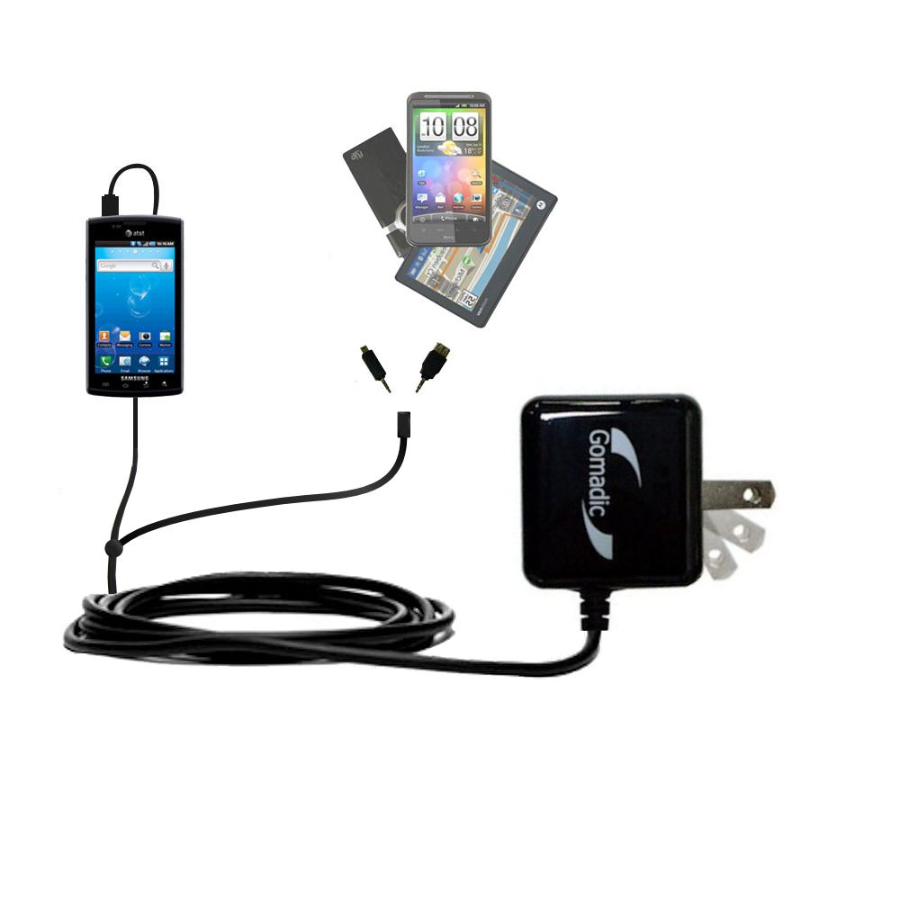 Double Wall Home Charger with tips including compatible with the Samsung Captivate