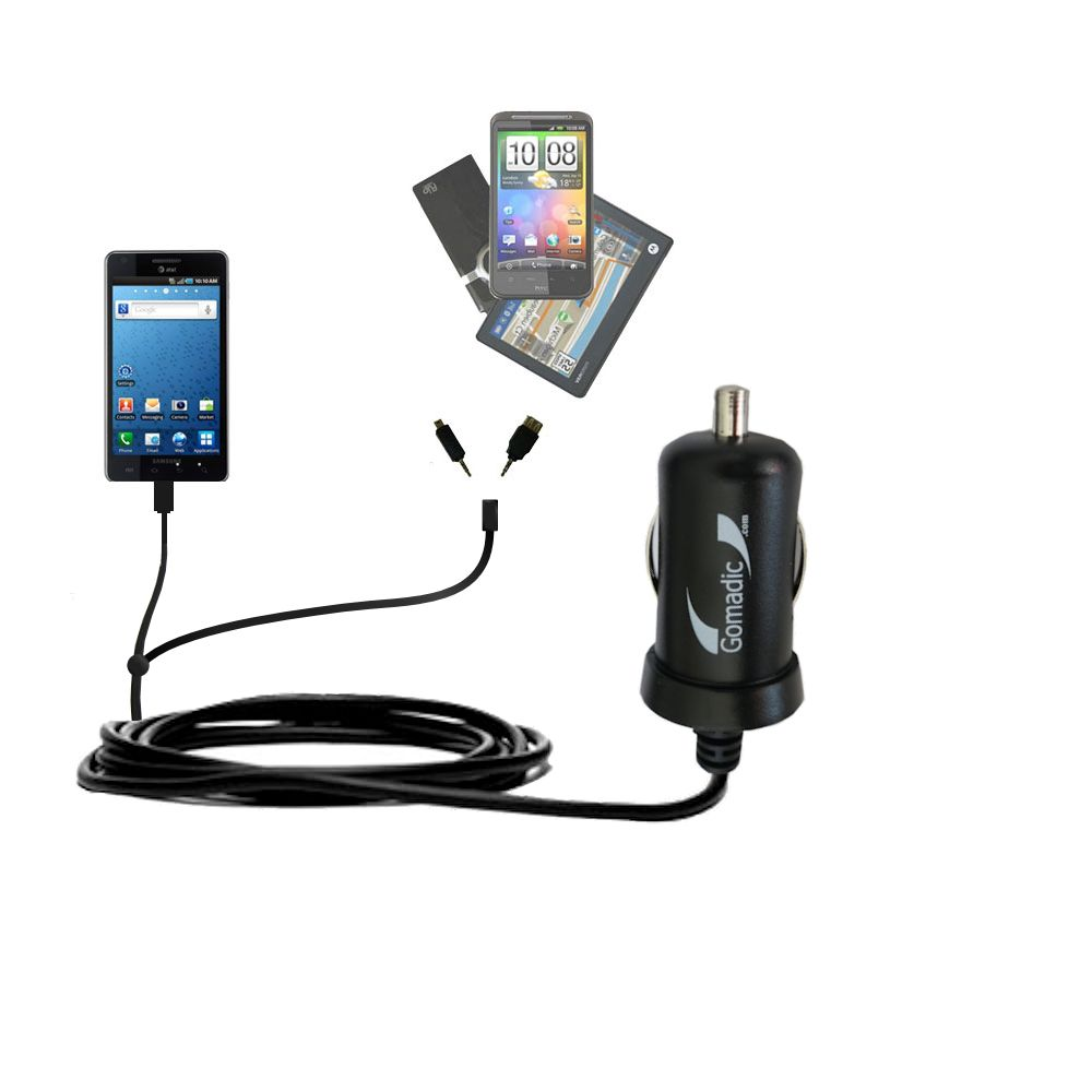 mini Double Car Charger with tips including compatible with the Samsung Infuse 4G