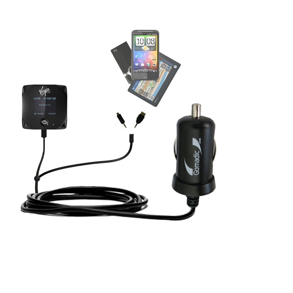 mini Double Car Charger with tips including compatible with the Sierra Wireless Overdrive Pro