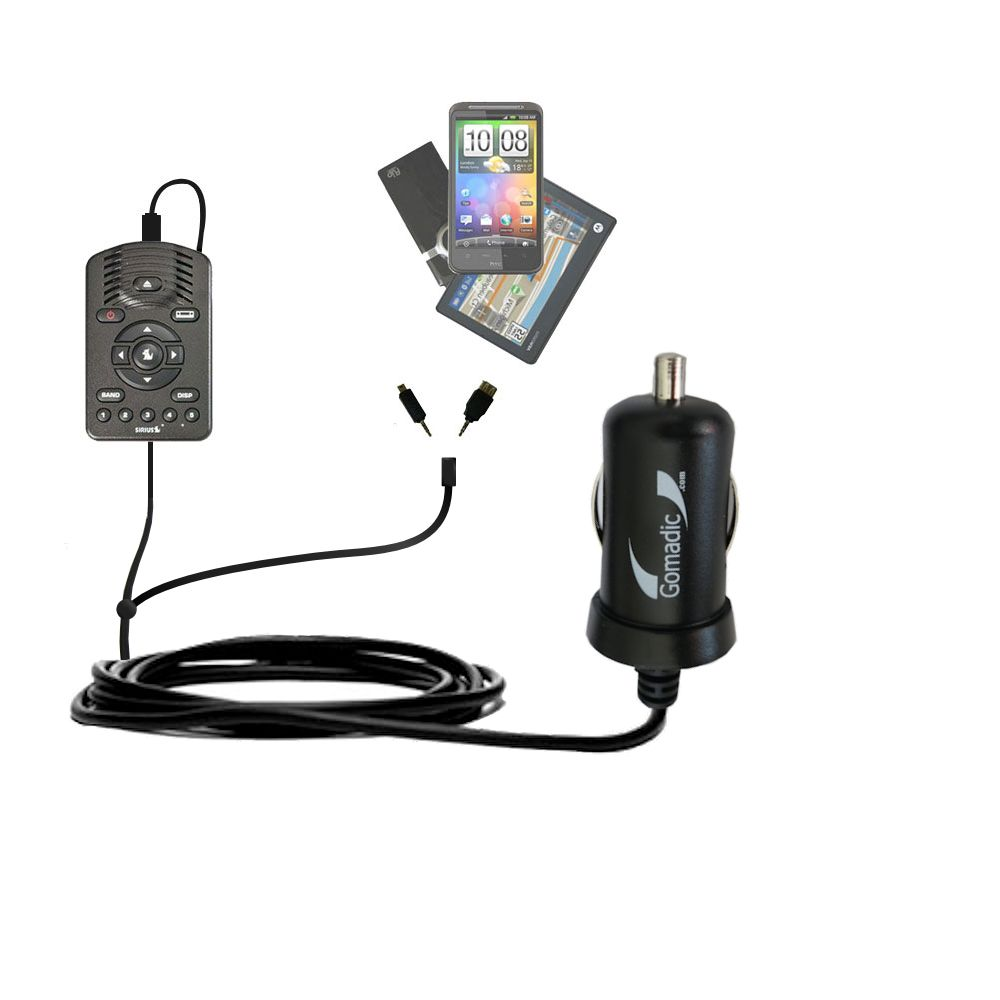 mini Double Car Charger with tips including compatible with the Sirius One SV1